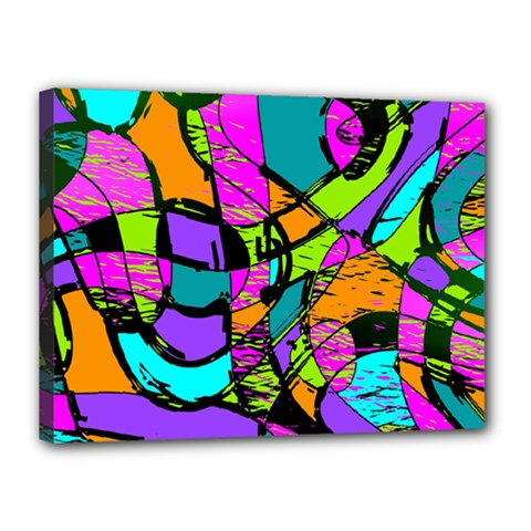 Abstract Sketch Art Squiggly Loops Multicolored Canvas 16  X 12  by EDDArt