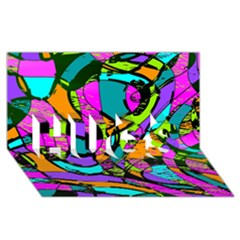 Abstract Sketch Art Squiggly Loops Multicolored Hugs 3d Greeting Card (8x4) by EDDArt