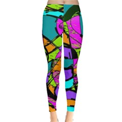 Abstract Sketch Art Squiggly Loops Multicolored Leggings  by EDDArt