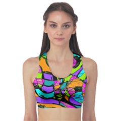 Abstract Sketch Art Squiggly Loops Multicolored Sports Bra