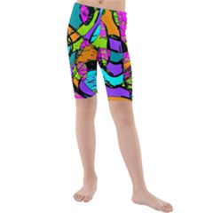 Abstract Sketch Art Squiggly Loops Multicolored Kids  Mid Length Swim Shorts by EDDArt