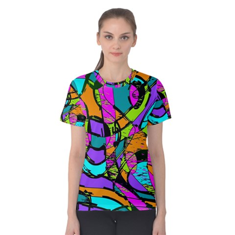 Abstract Sketch Art Squiggly Loops Multicolored Women s Cotton Tee by EDDArt