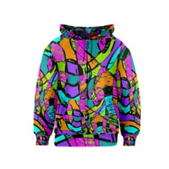 Abstract Sketch Art Squiggly Loops Multicolored Kids  Zipper Hoodie