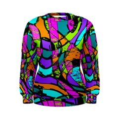 Abstract Sketch Art Squiggly Loops Multicolored Women s Sweatshirt