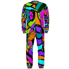 Abstract Sketch Art Squiggly Loops Multicolored Onepiece Jumpsuit (men)  by EDDArt