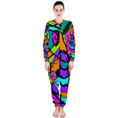 Abstract Sketch Art Squiggly Loops Multicolored Onepiece Jumpsuit (ladies)