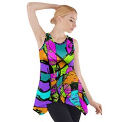 Abstract Sketch Art Squiggly Loops Multicolored Side Drop Tank Tunic by EDDArt