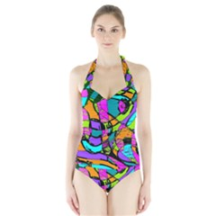 Abstract Sketch Art Squiggly Loops Multicolored Halter Swimsuit
