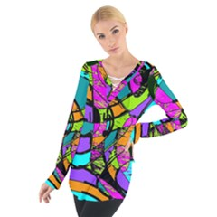 Abstract Sketch Art Squiggly Loops Multicolored Women s Tie Up Tee by EDDArt