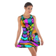 Abstract Sketch Art Squiggly Loops Multicolored Cotton Racerback Dress by EDDArt