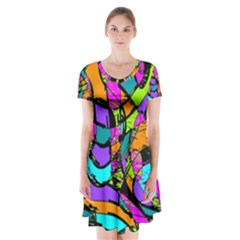 Abstract Sketch Art Squiggly Loops Multicolored Short Sleeve V Neck Flare Dress