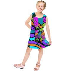 Abstract Sketch Art Squiggly Loops Multicolored Kids  Tunic Dress