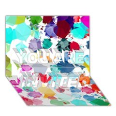Colorful Diamonds Dream You Are Invited 3d Greeting Card (7x5) by DanaeStudio