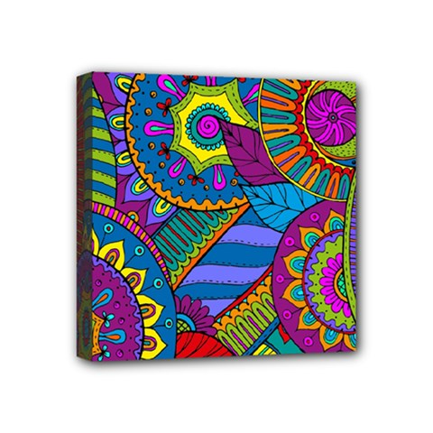 Pop Art Paisley Flowers Ornaments Multicolored Mini Canvas 4  X 4  by EDDArt