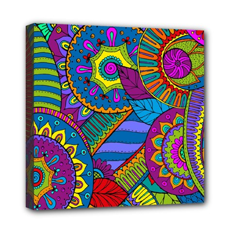 Pop Art Paisley Flowers Ornaments Multicolored Mini Canvas 8  X 8  by EDDArt