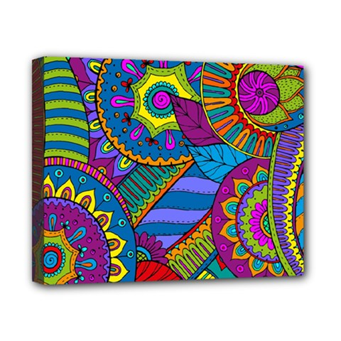 Pop Art Paisley Flowers Ornaments Multicolored Canvas 10  X 8  by EDDArt