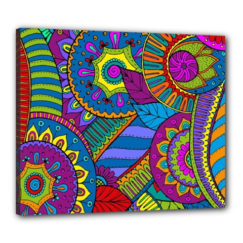 Pop Art Paisley Flowers Ornaments Multicolored Canvas 24  X 20  by EDDArt
