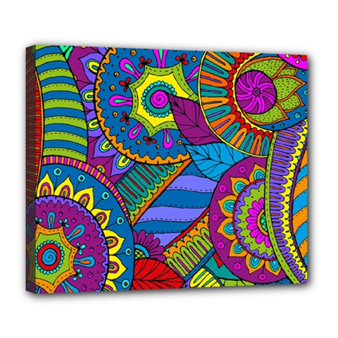 Pop Art Paisley Flowers Ornaments Multicolored Deluxe Canvas 24  X 20   by EDDArt
