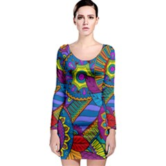 Pop Art Paisley Flowers Ornaments Multicolored Long Sleeve Bodycon Dress