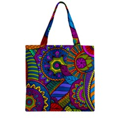 Pop Art Paisley Flowers Ornaments Multicolored Zipper Grocery Tote Bag by EDDArt