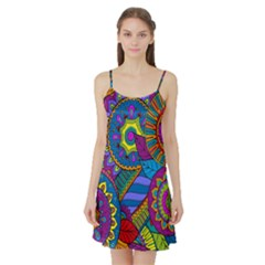 Pop Art Paisley Flowers Ornaments Multicolored Satin Night Slip by EDDArt