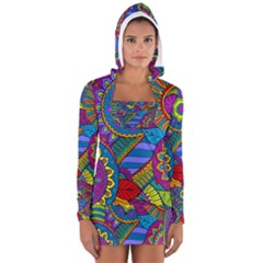 Pop Art Paisley Flowers Ornaments Multicolored Women s Long Sleeve Hooded T Shirt