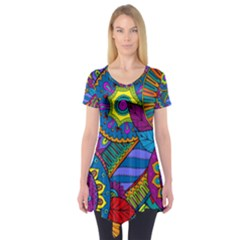 Pop Art Paisley Flowers Ornaments Multicolored Short Sleeve Tunic  by EDDArt