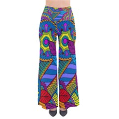 Pop Art Paisley Flowers Ornaments Multicolored Pants by EDDArt