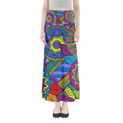Pop Art Paisley Flowers Ornaments Multicolored Maxi Skirts by EDDArt