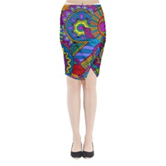 Pop Art Paisley Flowers Ornaments Multicolored Midi Wrap Pencil Skirt by EDDArt
