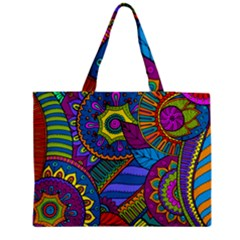 Pop Art Paisley Flowers Ornaments Multicolored Medium Tote Bag by EDDArt