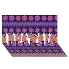 Colorful Winter Pattern Best Sis 3d Greeting Card (8x4) by DanaeStudio