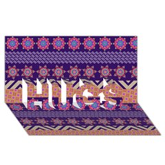 Colorful Winter Pattern Hugs 3d Greeting Card (8x4) by DanaeStudio
