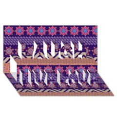 Colorful Winter Pattern Laugh Live Love 3d Greeting Card (8x4) by DanaeStudio