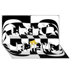 Dropout Yellow Black And White Distorted Check Best Friends 3d Greeting Card (8x4) by designworld65