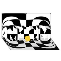Dropout Yellow Black And White Distorted Check Mom 3d Greeting Card (8x4) by designworld65