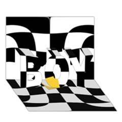 Dropout Yellow Black And White Distorted Check Boy 3d Greeting Card (7x5) by designworld65