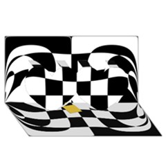 Dropout Yellow Black And White Distorted Check Twin Hearts 3d Greeting Card (8x4) by designworld65