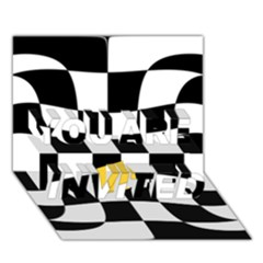 Dropout Yellow Black And White Distorted Check You Are Invited 3d Greeting Card (7x5) by designworld65