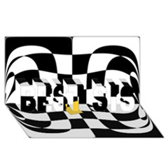 Dropout Yellow Black And White Distorted Check Best Sis 3d Greeting Card (8x4) by designworld65