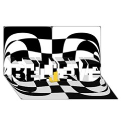 Dropout Yellow Black And White Distorted Check Believe 3d Greeting Card (8x4) by designworld65