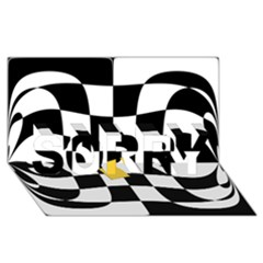 Dropout Yellow Black And White Distorted Check Sorry 3d Greeting Card (8x4) by designworld65