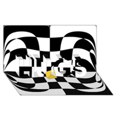 Dropout Yellow Black And White Distorted Check Hugs 3d Greeting Card (8x4) by designworld65
