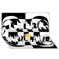 Dropout Yellow Black And White Distorted Check Laugh Live Love 3d Greeting Card (8x4) by designworld65