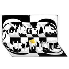 Dropout Yellow Black And White Distorted Check Congrats Graduate 3d Greeting Card (8x4) by designworld65