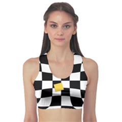Dropout Yellow Black And White Distorted Check Sports Bra by designworld65