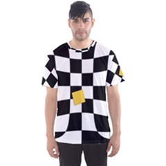 Dropout Yellow Black And White Distorted Check Men s Sport Mesh Tee by designworld65