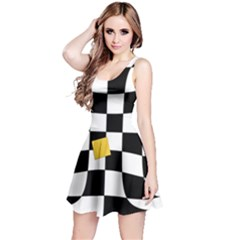 Dropout Yellow Black And White Distorted Check Reversible Sleeveless Dress by designworld65