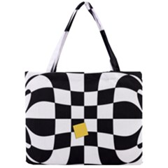 Dropout Yellow Black And White Distorted Check Mini Tote Bag by designworld65