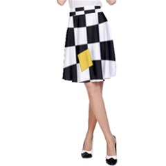 Dropout Yellow Black And White Distorted Check A Line Skirt by designworld65